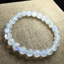 7mm Natural Burma Moonstone Rainbow Blue Light Round Beads Bracelet AAAA