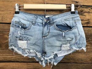 Womens Victorias Secret PINK Cut Off Denim Jean Shorts Super Short Sz 0 Ripped