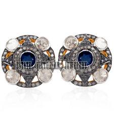 Artdeco Estate 2.80cts Rose Antique cut Diamond Sapphire Silver Jewelry Earring