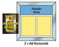 Menu Display Case illuminated LED - 2 x A4 Horizontal Lockable