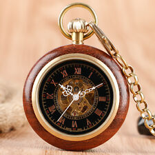 Retro Roman Numerals Gold Wood Skeleton Mechanical Women Pocket Watch Chain Gift