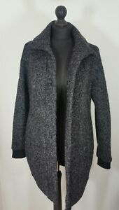 vero moda womens grey coat size small long jacket wool blend speckled ladies