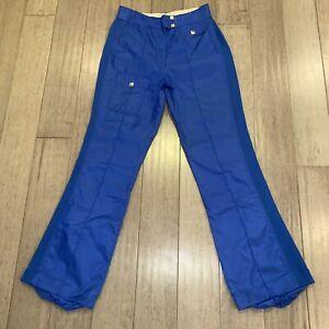 Vtg 60s 70s Apres Ski Pants Suit Blue SPORTCASTER Snow bib Nylon Womens LARGE