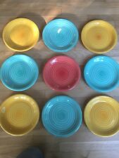 9 Pier 1 Dinner Plates, Green And Yellow, Made in Italy, Color applied on Wheel