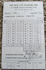 CALVIN PEETE SIGNED TOURNAMENT SCORECARD MARKER NICK FALDO-1983 SILK CUT MASTERS