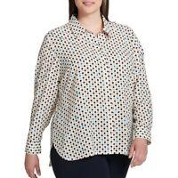 TOMMY HILFIGER Women's Plus Size Printed Polka Dot Button Down Shirt Top 3X TEDO