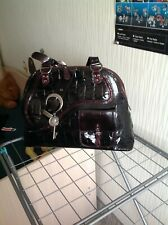 AUTH CHRISTIAN DIOR GAUCHO EXTRA LARGE CROCO EMBOSSED PATENT LEATHER BAG
