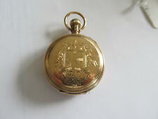 10K 18 SIZE WALTHAM HUNTING  POCKET WATCH CASE WITH ELGIN GRADE 88 MOVEMENT