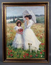 """Oil Painting 40"""" x 30"""", Mother & Daughter, Dog, Poppy Field, Impressionist Style"""