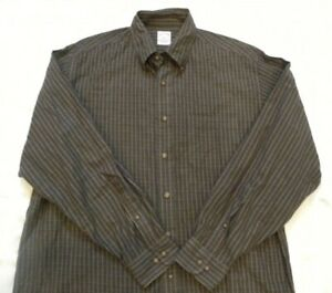 Brooks Brothers Flannel L/S Button Brown Olive Plaid Wool Bend Mens Shirt Large