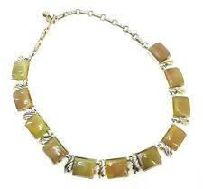 Vintage Coro Thermoset Goldtone Necklace Marbled Green Yellow Beads Stones Signe