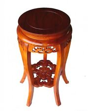 """24"""" Round Wood Tall Curved-Legged Plant Stand in Oak Finish"""