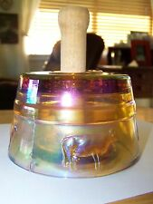 Marigold Carnival Glass Embossed Cow Butter Mold & Press with Wooden Handle