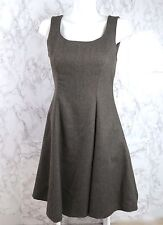 Laura Ashley Princess Seam A Line Dress Pure New Wool Work Lined Brown 6 VTG