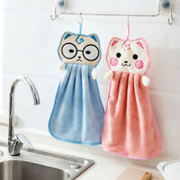 AD_ AU_ Absorbent Hand Towel Cartoon Animal Kitchen Bath Hanging Wipe Soft Towel