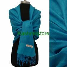 New Pashmina Paisley Floral Silk Wool Scarf Wrap Shawl Soft Turquoise #R06