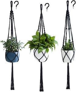 Macrame Plant Hanger Indoor Hanging Planter Basket Flower Pot Holder 3pcs Black
