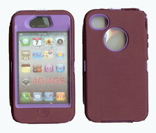 Built in Screen Protector Case / Cover IPHONE 4, 4S BURGUNDY / PURPLE