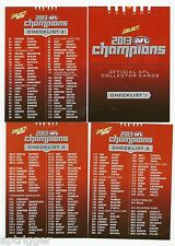 2013 Champions CHECK LISTS (4 cards)