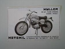 advertising Pubblicità 1974 MOTO MULLER 50 GT FUORISTRADA MODELLO PRIMO