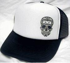 Tattoo Skull Day of The Dead Trucker Hat mesh hat snapback hat black