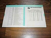 BMW AW-Tabelle 1986 Arbeitswert Richtzeiten Reparaturzeiten WERKSTATT HANDBUCH