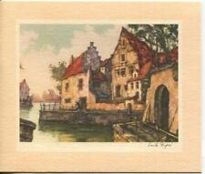 VINTAGE CHRISTMAS FRENCH HOUSE TERRACE RIVER JULES EMILE DUPRE MCM GREETING CARD