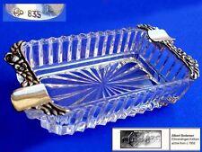Aschenbecher, ALBO, Hildesheimer Rose, Kristallglas, 835er Silber A372