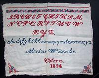Uraltes Abc Paño Pascua 1894 Bordado Sticktuch Vintage Decoración Shabby Rústico