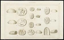 Gravure de 1852 : Monnaies babyloniennes - Babylone, Mésopotamie - Numismatique