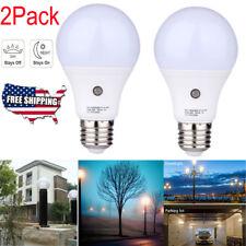 2Pcs 7W E27 4000K Auto On/Off Smart Motion Sensor Dusk to Dawn Light Bulb Lamp