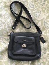 COACH 49170 Black Leather Swing Pack Purse Crossbody Bag-NICE