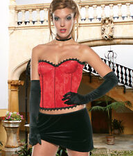 Sexy Lingerie Coquette Red Brocade Bustier Corset w Lace-up Back & Side Zipper