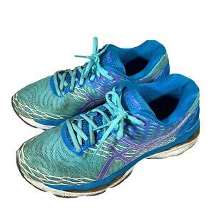Women's Asics Gel-Nimbus 18 Running Shoes Size 9.5 Blue Purple White Athletic