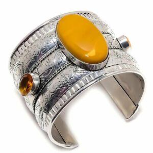Mookaite, Honey Topaz Ethnic Silver Jewelry Cuff Bracelet Adjustable MQR-896