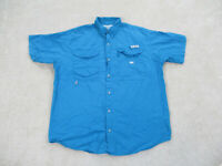 Columbia Button Up Shirt Adult 2XL XXL Blue PFG Outdoors Camp Casual Mens B57