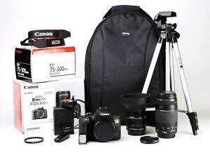 Canon 800D DSLR Dual Lens Kit 18-55mm IS STM & 75-300mm III Boxed 2,503 Shot EXC
