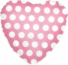 "18"" Polka Dot Pink Heart Shape Balloon Wedding Baby Shower Birthday Bridal"