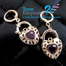 18k yellow gold GF vintage style heart padlock solid hoop dangle earrings S