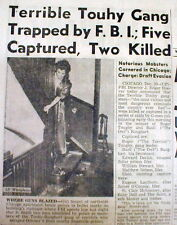 1942 display newspaper Irish-Amer ROGER TOUHY GANG CAPTURED or KILLED by the FBI