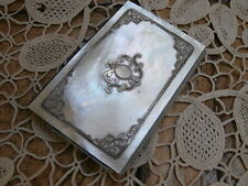 Antique French Mother Of Pearl & Silver Carnet De Bal~Calling/Dance Card Case
