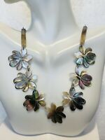 Mid 1900's Vintage Abalone Carved Shell Flower   Chain Linked Necklace Jewelry