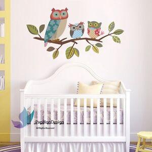 Wise owls standing on tree branch nursery/children's bedroom  wall sticker decal
