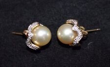 10MM ESTATE GOLDEN SOUTH SEA PEARLS EARRINGS DIAMONDS 14K GOLD WOW!