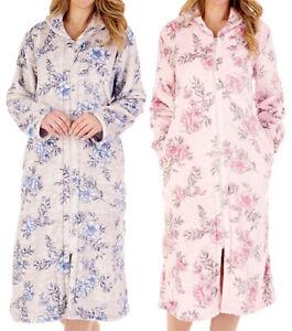 Slenderella Ladies Floral Zip Up Dressing Gown Flannel Fleece Housecoat Robe