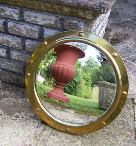 Vintage Brass Porthole Convex Mirror