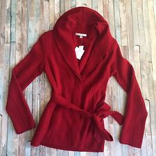 CAbI NWT Boiled Wool Jacket red XS tie waist long sleeve merino women's 167