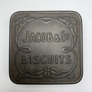 """Vintage early 1900's Jacobs & Co Biscuit tin - 3x3"""" - Cream cracker"""