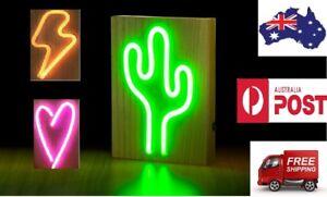 Neons Light Sign on Wooden Base CACTUS 25cm Green Retro Lighting Home Decor Kids