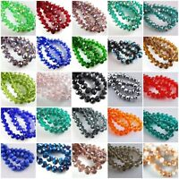Lot Rondelle Faceted Crystal Glass Loose Spacer Beads Wholesale 3/4/6/8/10mm